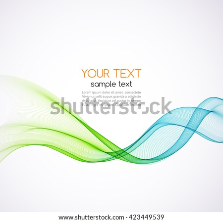 Abstract vector background, blue and green transparent waved lines for brochure, website, flyer design.  Blue and green smoke wave. Blue and green  wavy background - stock vector