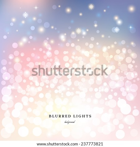 Abstract vector  background. Blurred Christmas Lights with bokeh effect, snowflakes and stars.  - stock vector