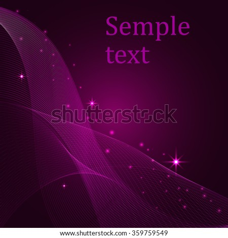 abstract vector background, bright red glowing waves - stock vector
