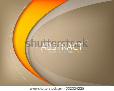 Abstract vector background brown element with orange curve line on brown space for text and message design - stock vector