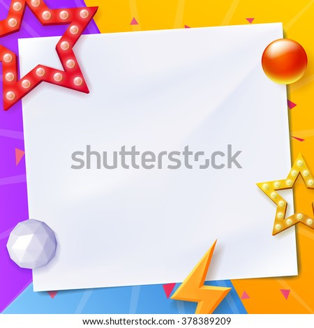 Abstract vector background, colorful background with objects with paper for text - stock vector