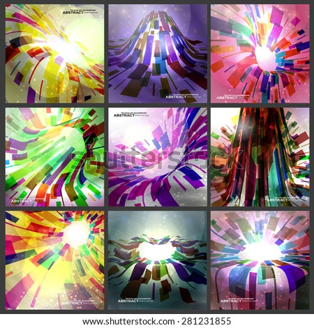 Abstract vector background, futuristic set colorful strip, technology illustration eps10 - stock vector