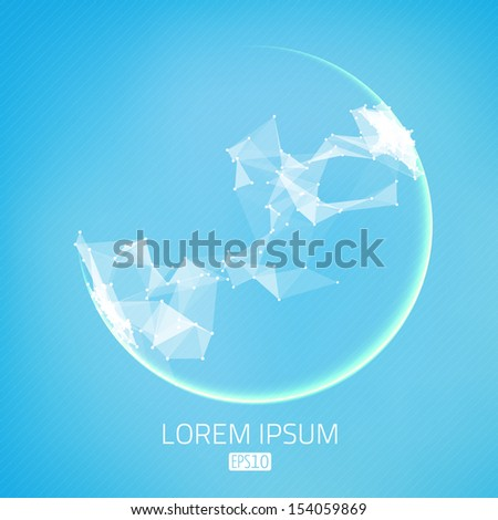 Abstract vector background. Futuristic style card. Elegant background for business presentations. Lines, point, planes in 3d space. Glowing sphere. - stock vector