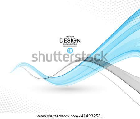 Abstract vector background, gray and blue waved lines for brochure, website, flyer design.  illustration eps10 - stock vector