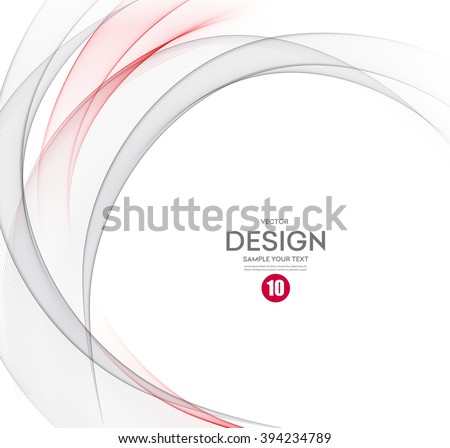 Abstract vector background, gray and red waved lines for brochure, website, flyer design.  illustration eps10. Motion wave - stock vector