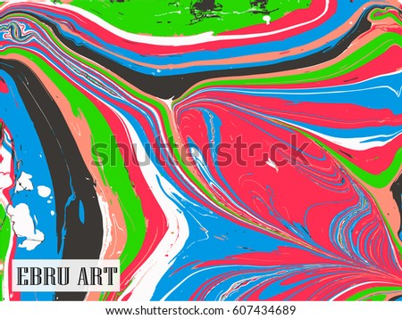 Abstract vector background. Ink marble multicolor texture.