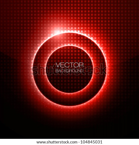 Abstract Vector Background - Light Red Circles behind Dark Design - stock vector