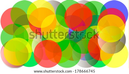 Abstract vector background made of transparent coloured spheres