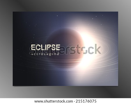 Abstract vector background. Planet with rings like Saturn in deep space passes lightbeam of a star. High technology and great scale concept. - stock vector