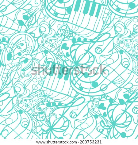 Abstract vector background. Seamless pattern with waves, notes, music, curls, doodles, strips. Illustration can be used as a template for web pages, design element for packaging and postcards.
