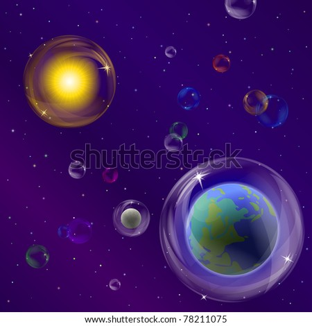 Abstract vector background, space: planet mother Earth, moon, sun and stars in transparent bubbles - stock vector
