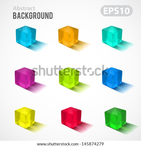 Abstract vector background. Transparent colorful cubes collection