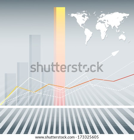 abstract vector background with bar graphs and world map. Eps10