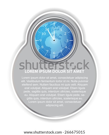 Abstract vector background with blue clock, continents,  and place for text - stock vector
