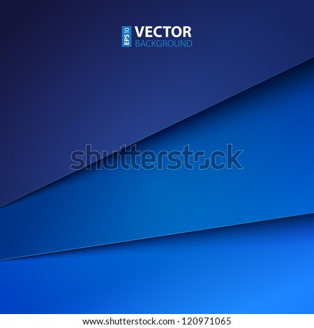 Abstract vector background with blue paper layers - stock vector