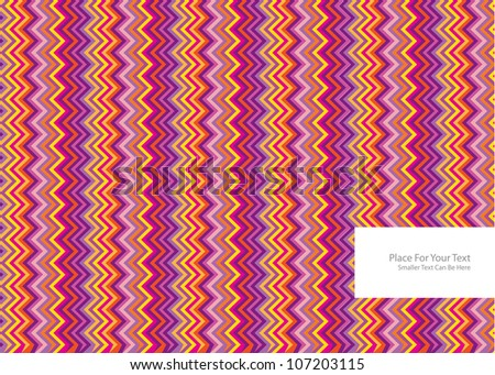 abstract vector background with colorful symmetrical zig zag stripes and frame for your text - stock vector