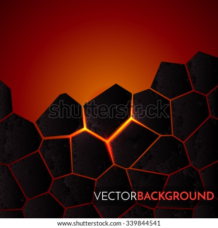 Abstract vector background with cracked ground and lava. Eps 10 - stock vector