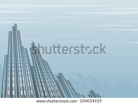 Abstract Vector Background with Depressive City - stock vector