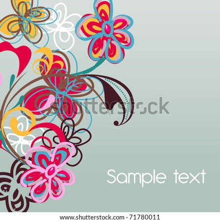 Abstract vector background with flowers and grunge spot - stock vector