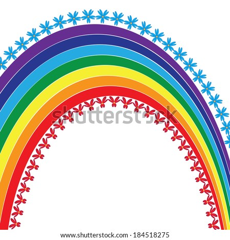 abstract vector background with flowers and rainbow - stock vector