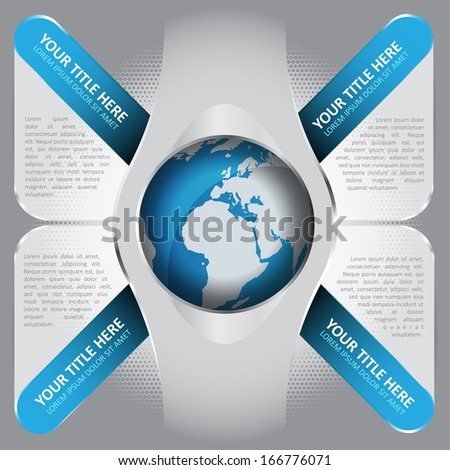 Abstract vector background with four blue tabs and glass space for captions and texts with a globe in the middle. Can be used for brochures, posters, flyers, print or web. - stock vector