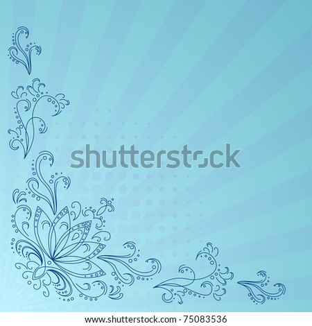 Abstract vector background with graphic floral pattern - stock vector