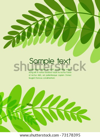 Abstract vector background with green leafs