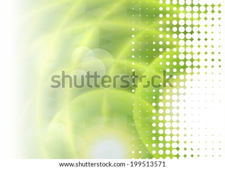 Abstract vector background with halftone and green water effect - stock vector
