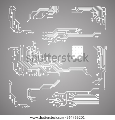 abstract vector background with high tech circuit board Vector Illustration - stock vector