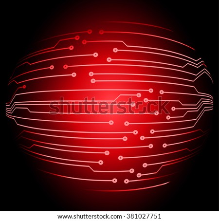 abstract vector background with high tech red circuit board. - stock vector