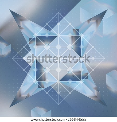 Abstract vector background with isometric cubes and prisms with reflection of the environment and low poly structure on blurred background. - stock vector