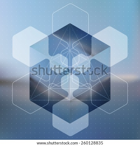 Abstract vector background with isometric cubes with reflection of the environment and low poly structures on blurred background. Vector illustration. - stock vector