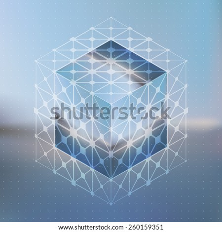 Abstract vector background with isometric cubes with reflection of the environment and low poly structure on blurred background. - stock vector
