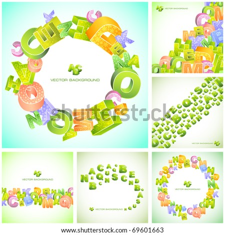 Abstract vector background with letter mix. Great collection. - stock vector