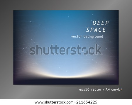 Abstract vector background with moonlight, sunrise, polygonal surfaces, semi-transparent connecting lines, and dawn gradient effect on soft deep space mesh field. - stock vector