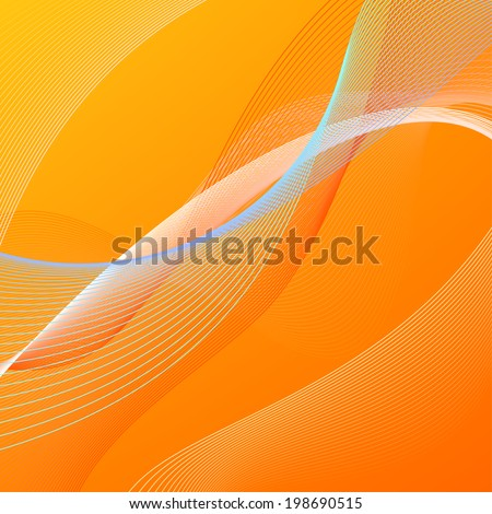 Abstract vector background with orange and blue blended lines - stock vector