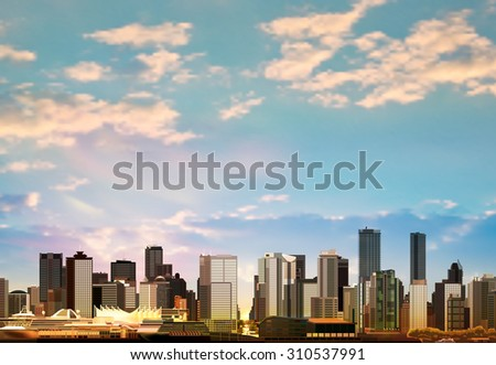 abstract vector background with panorama of vancouver and clouds - stock vector
