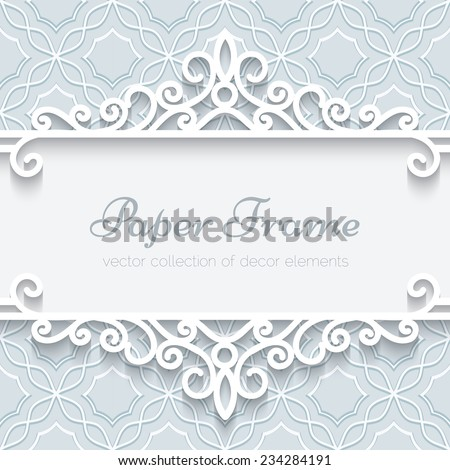 Abstract vector background with paper divider, header, ornamental frame, eps10  - stock vector