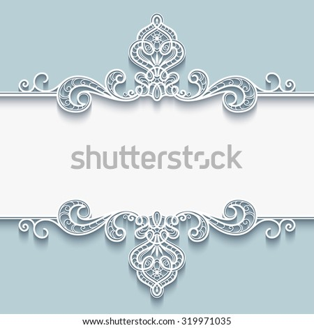 Abstract vector background with paper divider, header, ornamental lace frame, eps10 - stock vector