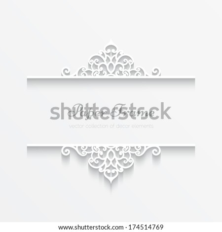 Abstract vector background with paper dividers, header, ornamental frame, eps10 - stock vector