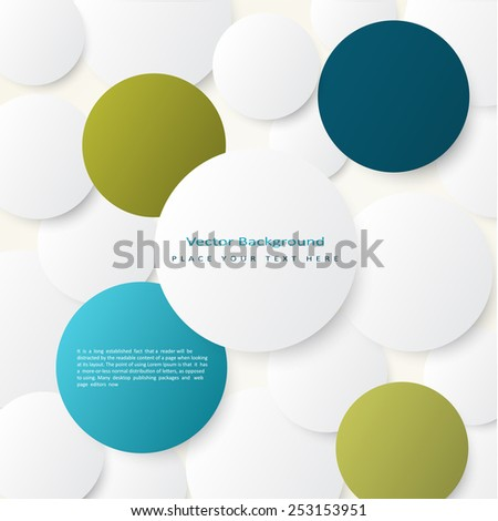 Abstract vector background with simple volume color circles  - stock vector