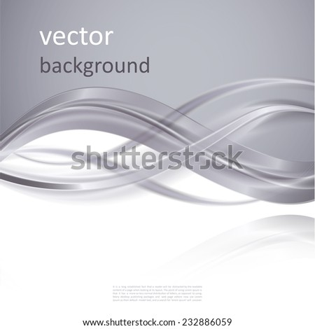 Abstract  vector background with smooth shiny grey, gray waves - stock vector