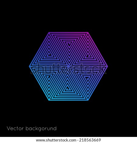 Abstract vector background with spiral with straight lines - stock vector