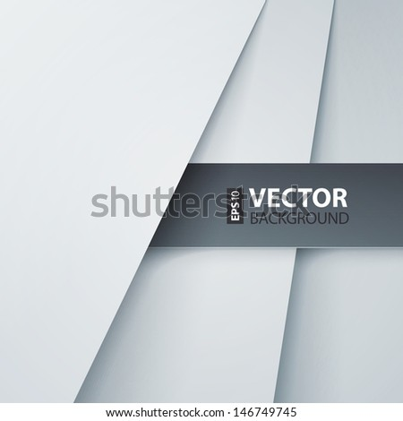 Abstract vector background with white paper layers. RGB EPS 10 vector illustration - stock vector