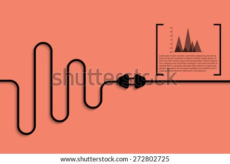Abstract vector background with wire plug and socket. Concept of stabilization process. Flat eps10 for your design - stock vector