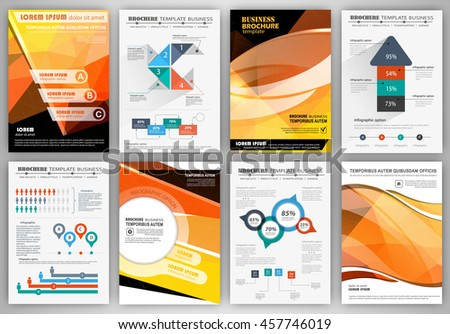 Abstract vector backgrounds and brochures for web and mobile applications. Business and technology infographic, icons, creative template design for presentation, poster, cover, booklet, banner.