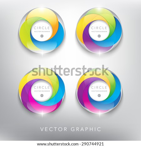 Abstract vector banner set. Glass marble with swirl design. Colorful and glossy on the white panel. Vector illustration. Eps10. - stock vector