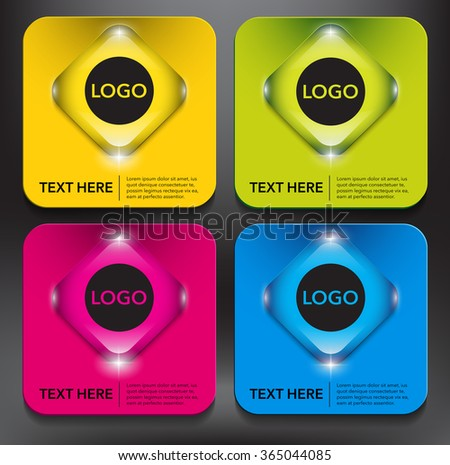 Abstract vector banner set. Use for business, shopping concept. Colorful and glossy on the black panel. Vector illustration. Eps10.  - stock vector