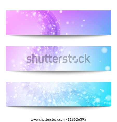 Abstract vector banners. Business banner. Banner background. Web banner. Technology background. Business card. Technology abstract. Bright background. Violet background. Blue background - stock vector