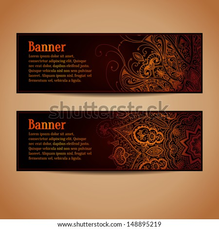 Abstract vector banners design. Banners set with gold floral pattern. Vintage ornament. Horizontal banners. Abstract background can be used for web design, printing, greeting cards. - stock vector